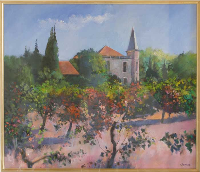 original painting of Domaine de Meilhan by Davy Brown